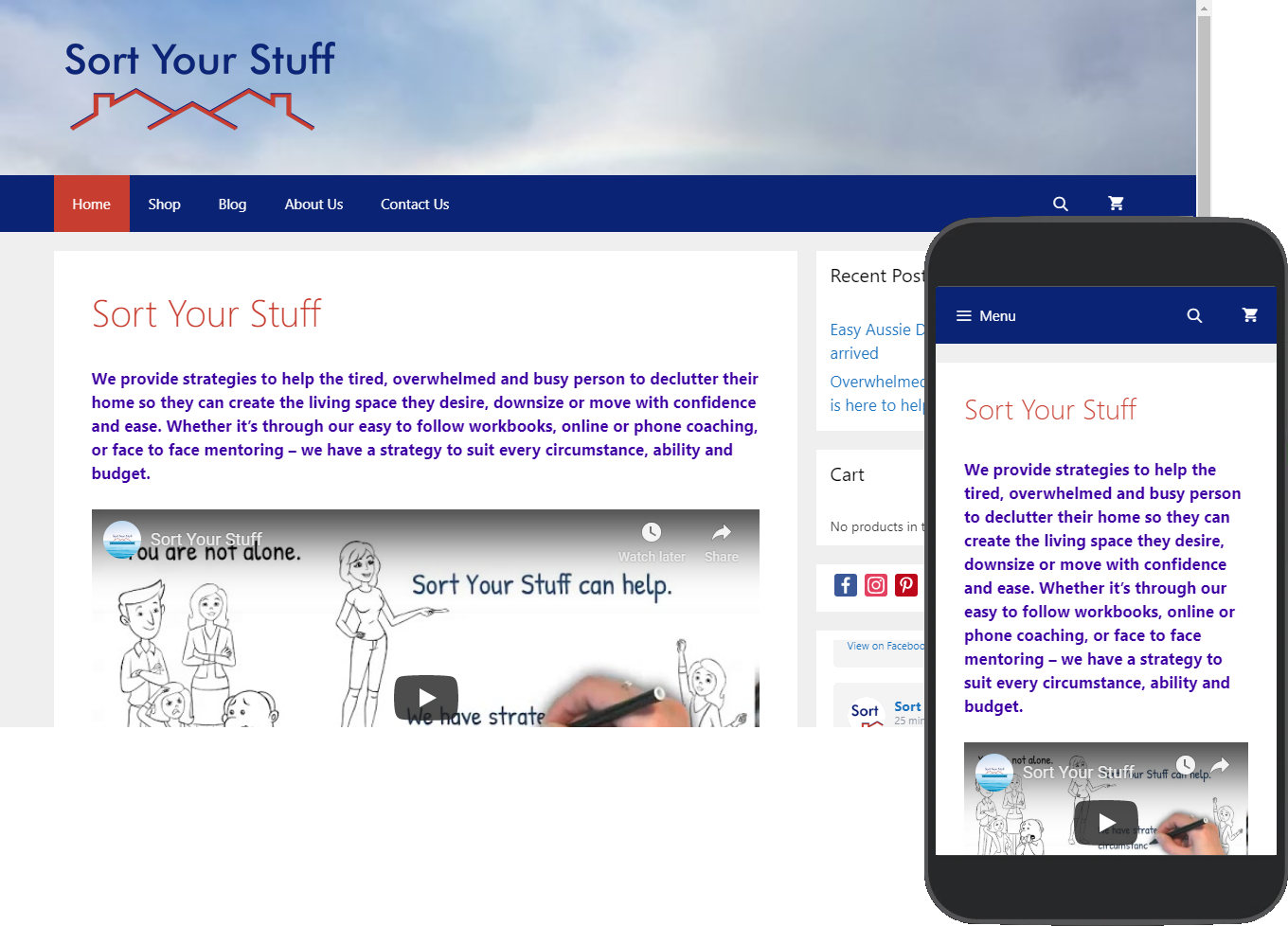 Sort Your Stuff website portfolio images of desktop and mobile view