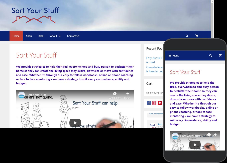 Sort Your Stuff website portfolio images of desktop and mobile view