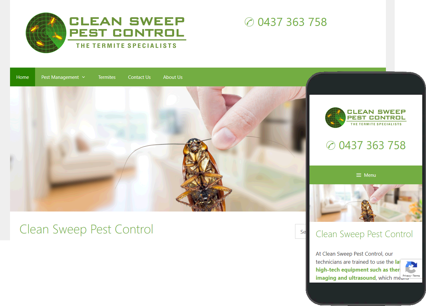 Clean Sweep Pest Control website portfolio images of desktop and mobile view