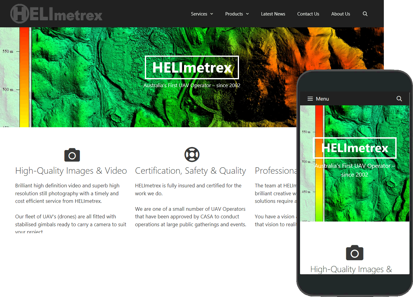 HELImetrex porfolio image, full web page and mobile view