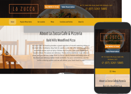 La Zucca porfolio image, full web page and mobile view