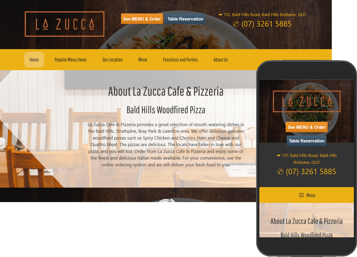 La Zucca porfolio image, full web page and mobile view