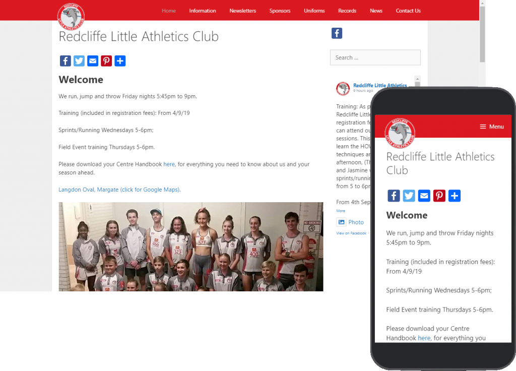Redcliffe Little Athletics website portfolio images of desktop and mobile view