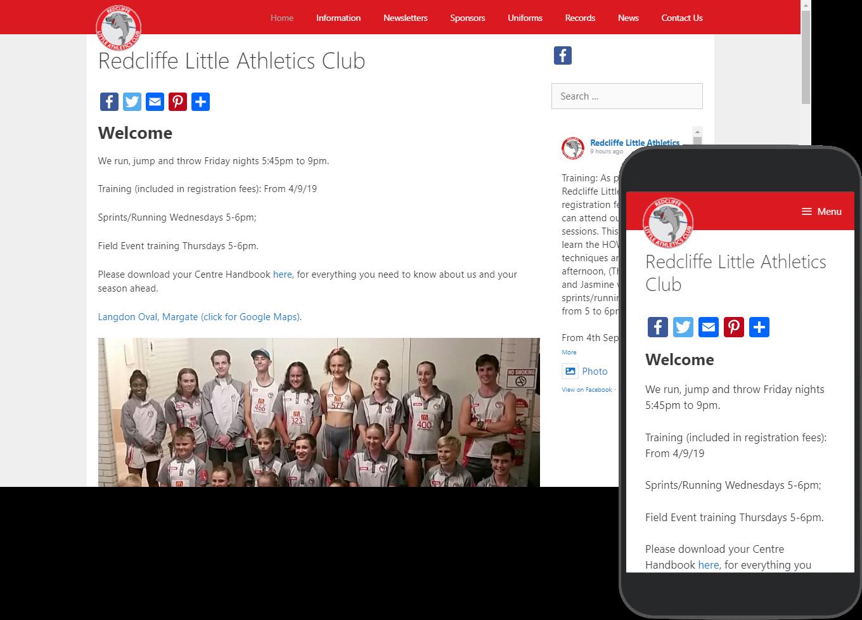 Redcliffe Little Athletics website portfolio images of desktop and mobile view