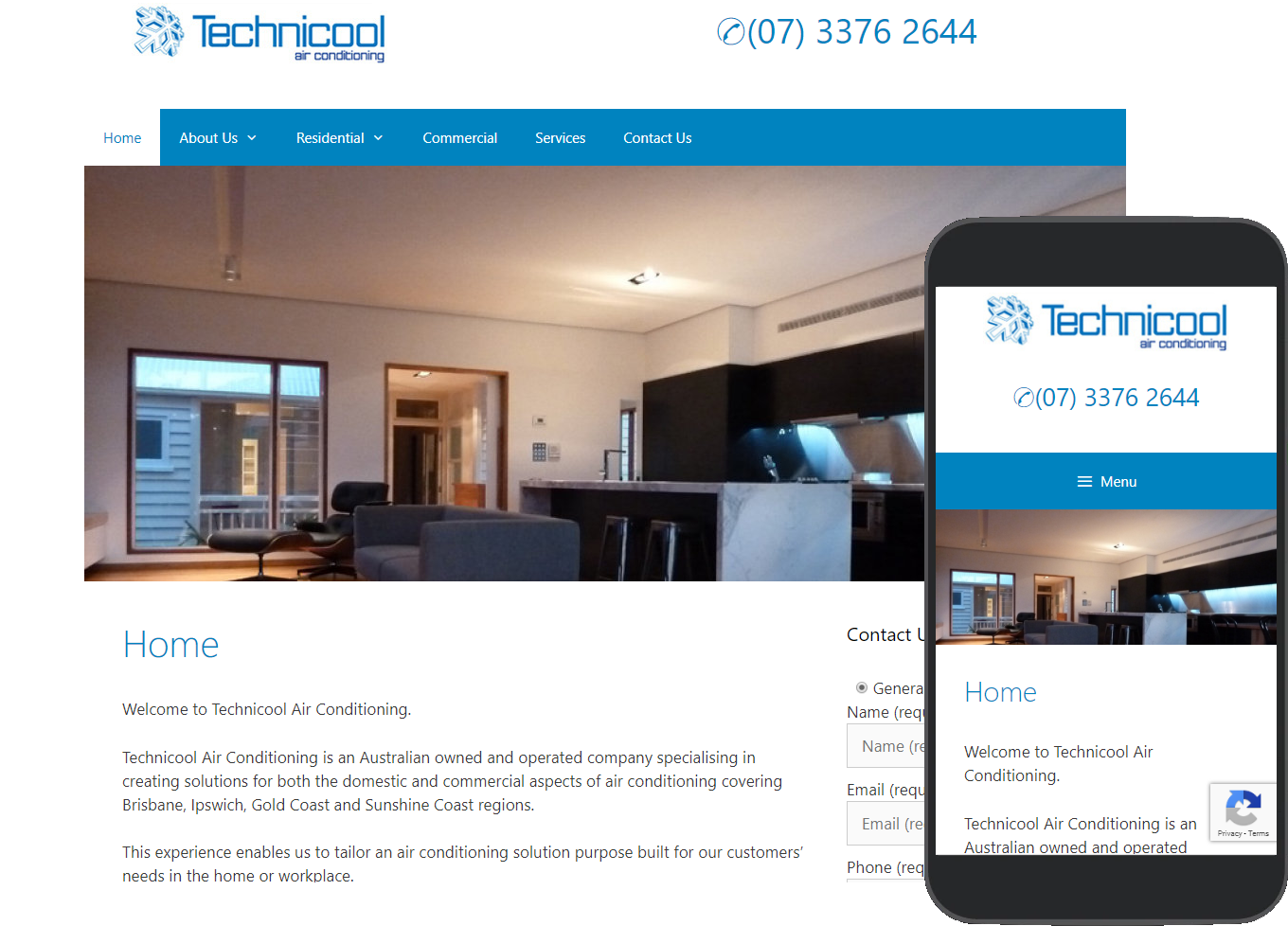 Technicool Australia website portfolio images of desktop and mobile view
