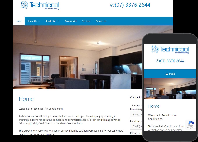 Technicool Australia website portfolio images of desktop and mobile view