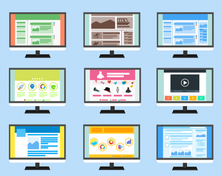 Grid of screens with different website designs