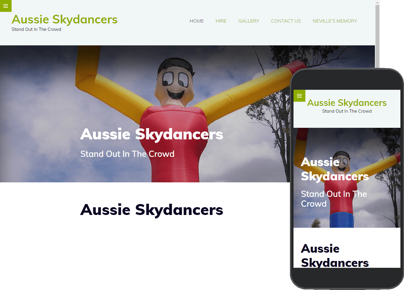 Aussie Skydancers website portfolio images of desktop and mobile view