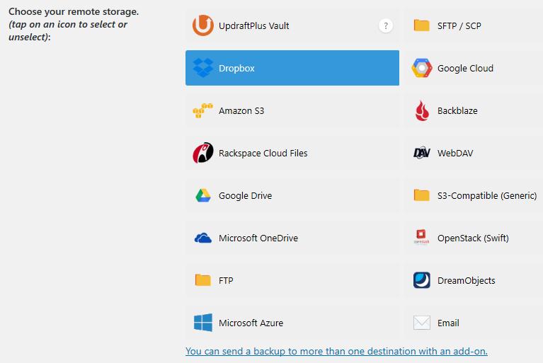 Remote storage options for UpdraftPlus backup, UpdraftPlus Vault, SFTP/SCP, Dropbox, Google Cloud, Amazon S3, Backblaze, Rackspace Cloud Files, WebDAV, Google Drive, S3-Compatible, Microsoft OneDrive, OpenStack, FTP, DreamObjects, Microsoft Azure, Email
