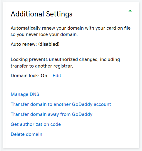 GoDaddy Additional Settings for a domain name