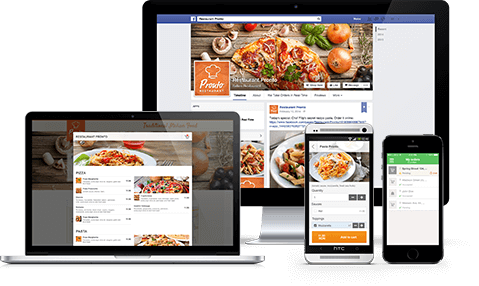 Online Ordering System shown on laptop, desktop and smartphone devices
