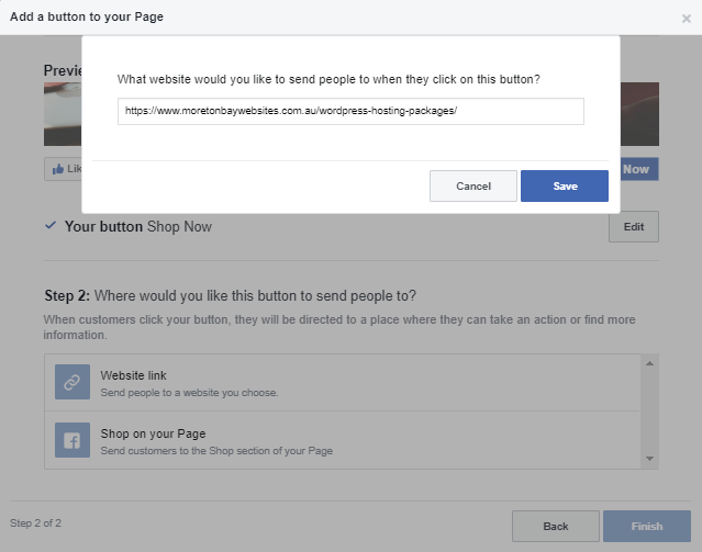 Facebook Add a Button Step 2, Website link option selected asking for the website link