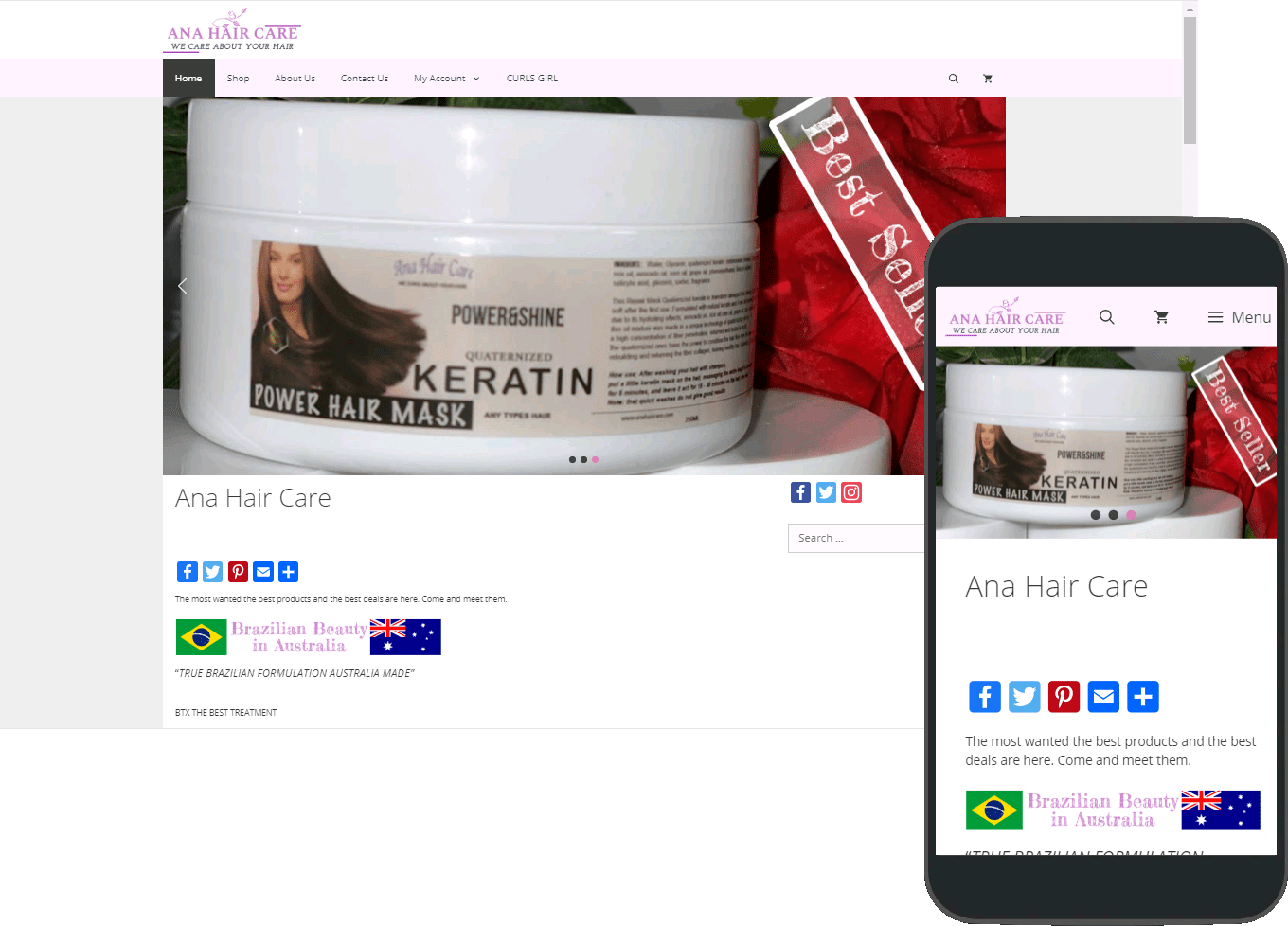 Ana Hair Care website portfolio images of desktop and mobile view