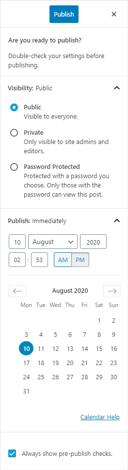 WordPress Publish, double check your settings before publishing, visibility as public, private or password protected, and date-time for publishing
