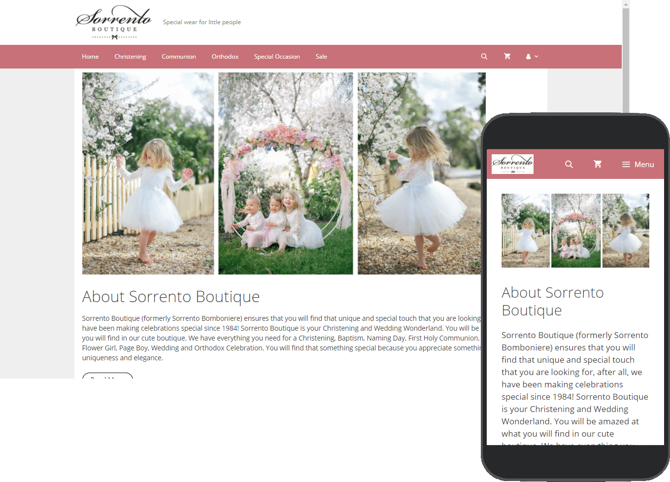 Sorrento Boutique website portfolio images of desktop and mobile view