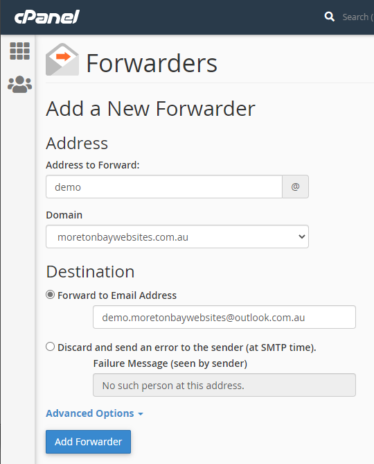 cPanel dialog for adding an email forwarder