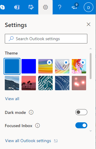 Outlook.com Settings panel