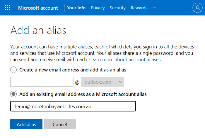 Microsoft account add an alias email address using the existing email address option