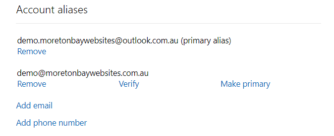 Outlook.com alias email address ready for verify