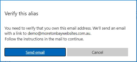 Verify email address alias