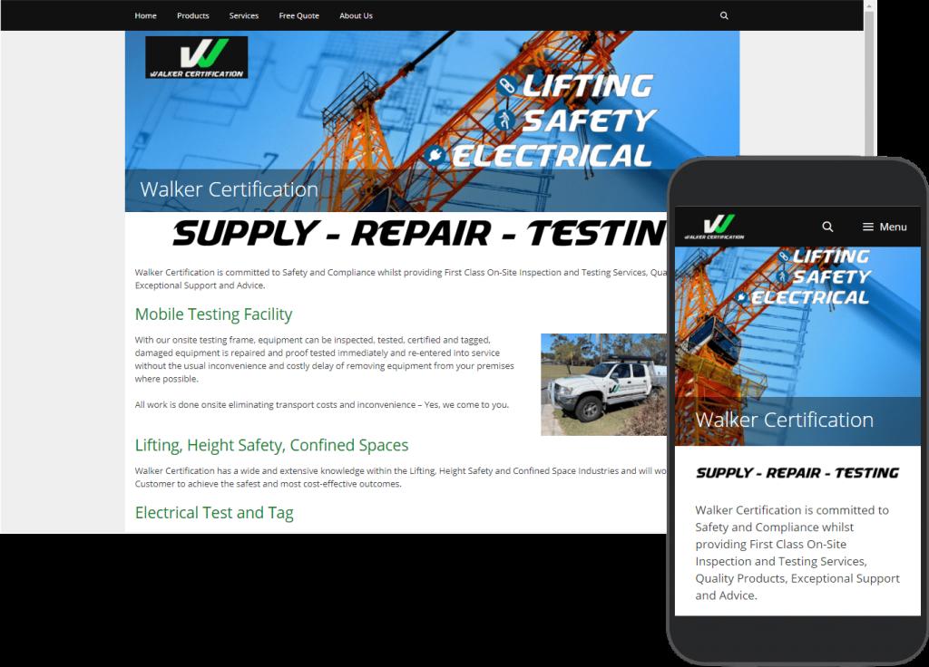Walker Certification website portfolio images of desktop and mobile view