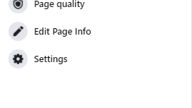 Menu on a Facebook Page showing the Settings link