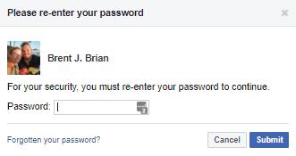 Facebook security check password entry